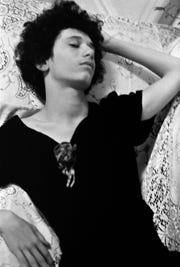 """A photograph of Myla Gottschalk, Donna's sister, pre-transition in """"Alfie in Mary's Dress, San Francisco,"""" 1973. Myla made the decision to transition in 2001, after their father died, according to the artist."""