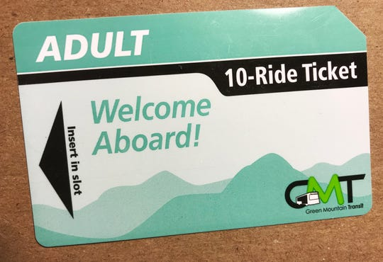 A 10-ride ticket on Green Mountain Transit cost will cost $15 after July 17, 2017 (up from $12). There is no savings in cost per ride — but the pass is more convenient than cash. Photographed Dec. 14, 2018.