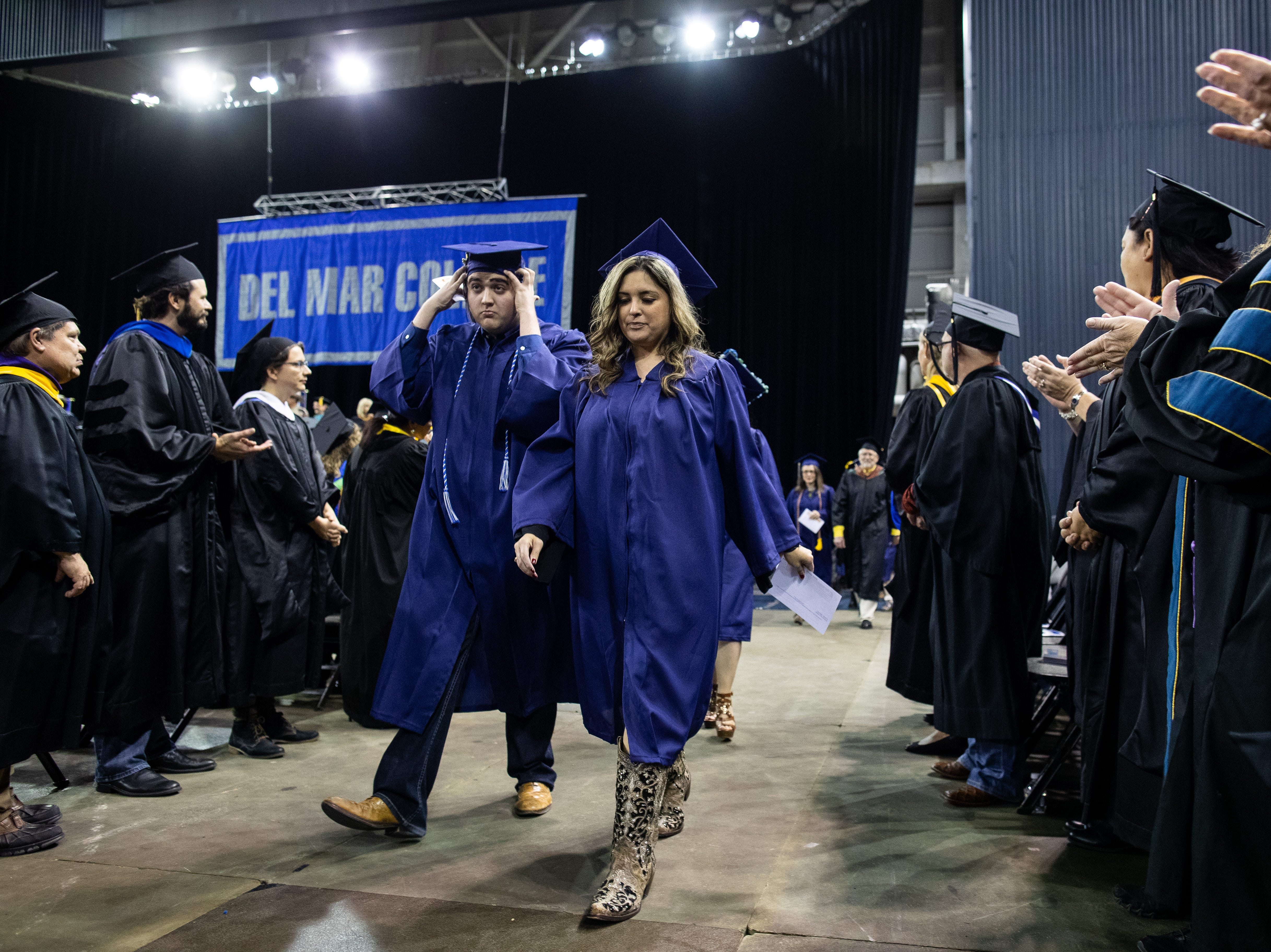 Robstown High School 's AJ Barrera during the Del Mar's fall commencement ceremony on Thursday, Dec. 13, 2018. AJ Barrera is the first senior in Robstown ISD's history to get an associate's degree before officially getting his high school certificate