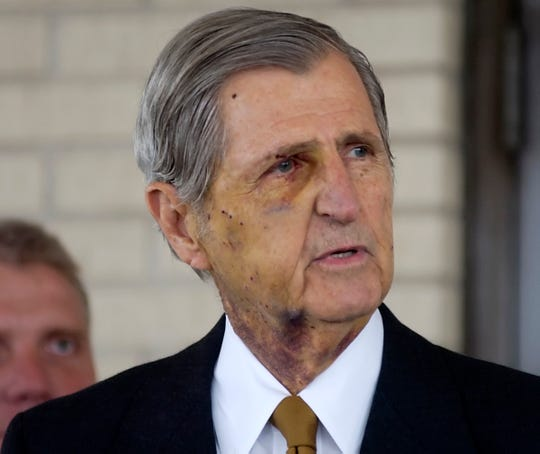 Harry Whittington addresses the press outside Christus Spohn Hospital Memorial on January 17, 2006 in Corpus Christi, TX.The 78-year-old Austin lawyer was accidentally shot by Vice President Dick Cheney during a hunting trip in nearby Kleberg County.