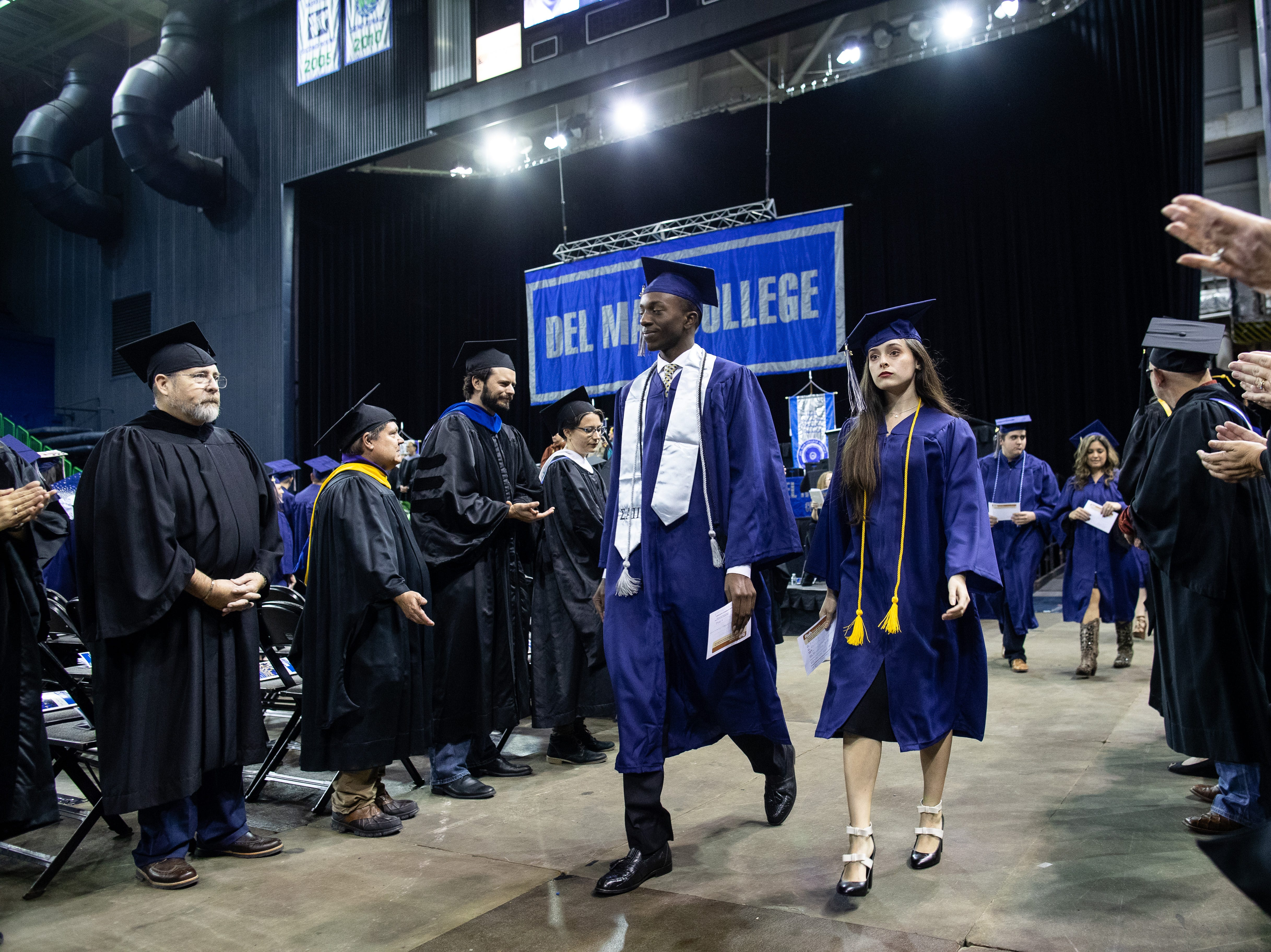 Flour Bluff's High School's Jeremiah Baldwin during the Del Mar's fall commencement ceremony where will receive his associateÕs degree in liberal arts on Thursday, Dec. 13, 2018.