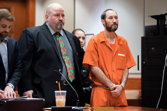 Johnny Bobbitt Jr., right, appears in court alongside defense attorney John Keesler for a detention hearing Friday, Dec. 14, 2018 at Burlington County Superior Court in Mount Holly, N.J. Bobbitt will be released on level 3 monitoring and the next court date is scheduled for Feb. 6, 2019.