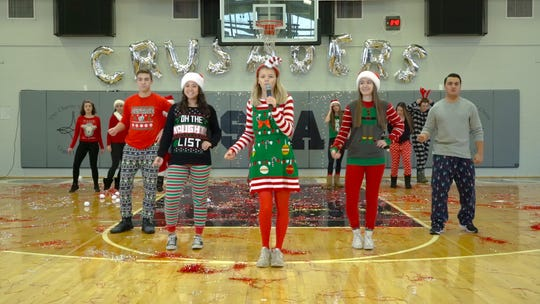 This screen shot was taken from Bishop Eustace's 'All I Want for Christmas' lip-sync video. The project, which has already racked up thousands of views on Facebook, was a fun change of pace for students.