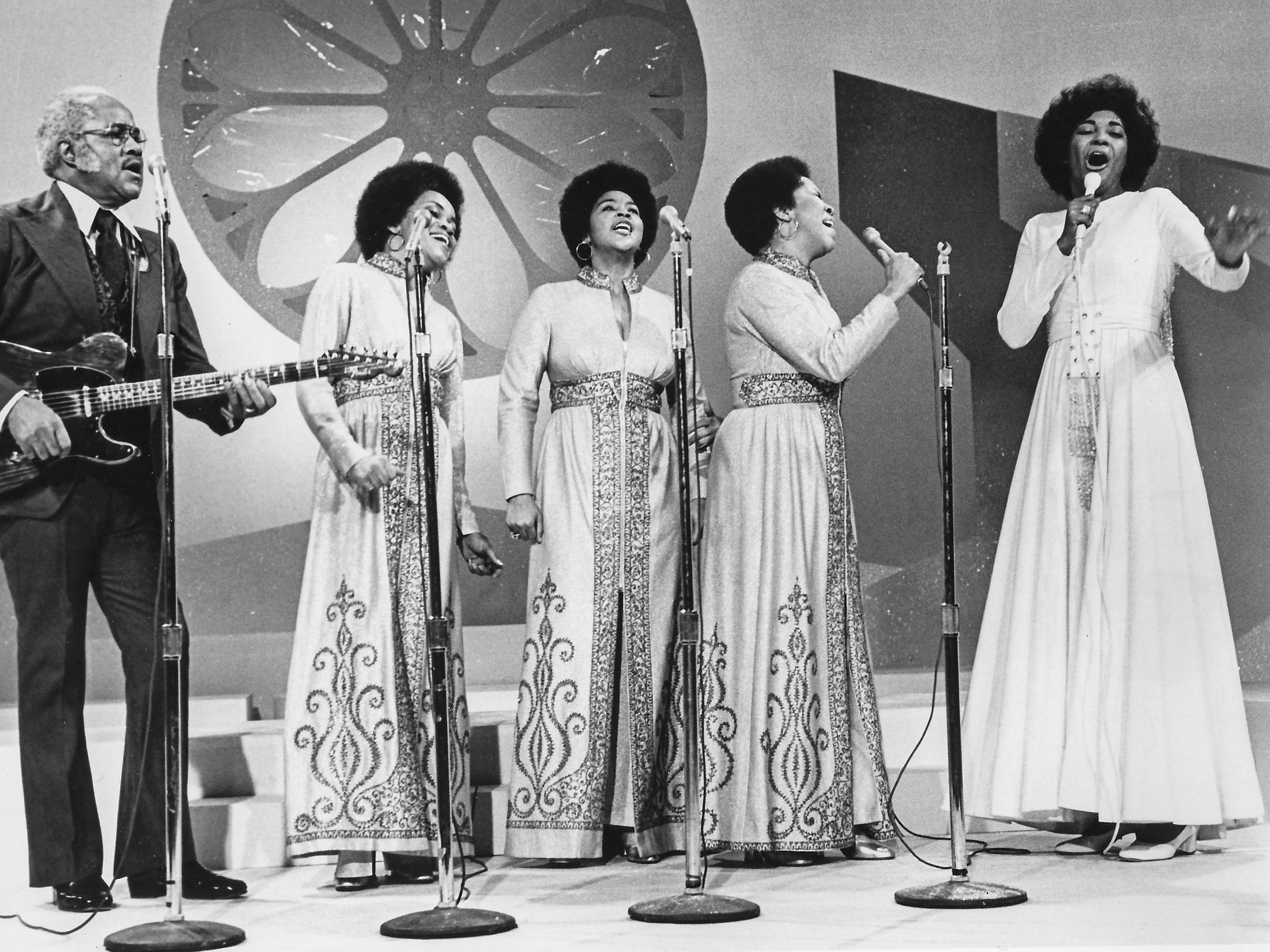 "Nancy Wilson, far right, joins the Staple Singers for a gospel number in ""Monsanto Night Presents Nancy Wilson,"" which aired on Sunday, March 26, 1972, on WBNS 10 TV. Miss Wilson's other guests in her first hour-long television special included Sammy Davis, Jr., three-time Oscar winner Henry Mancini, and singer and talk show host Mike Douglas."