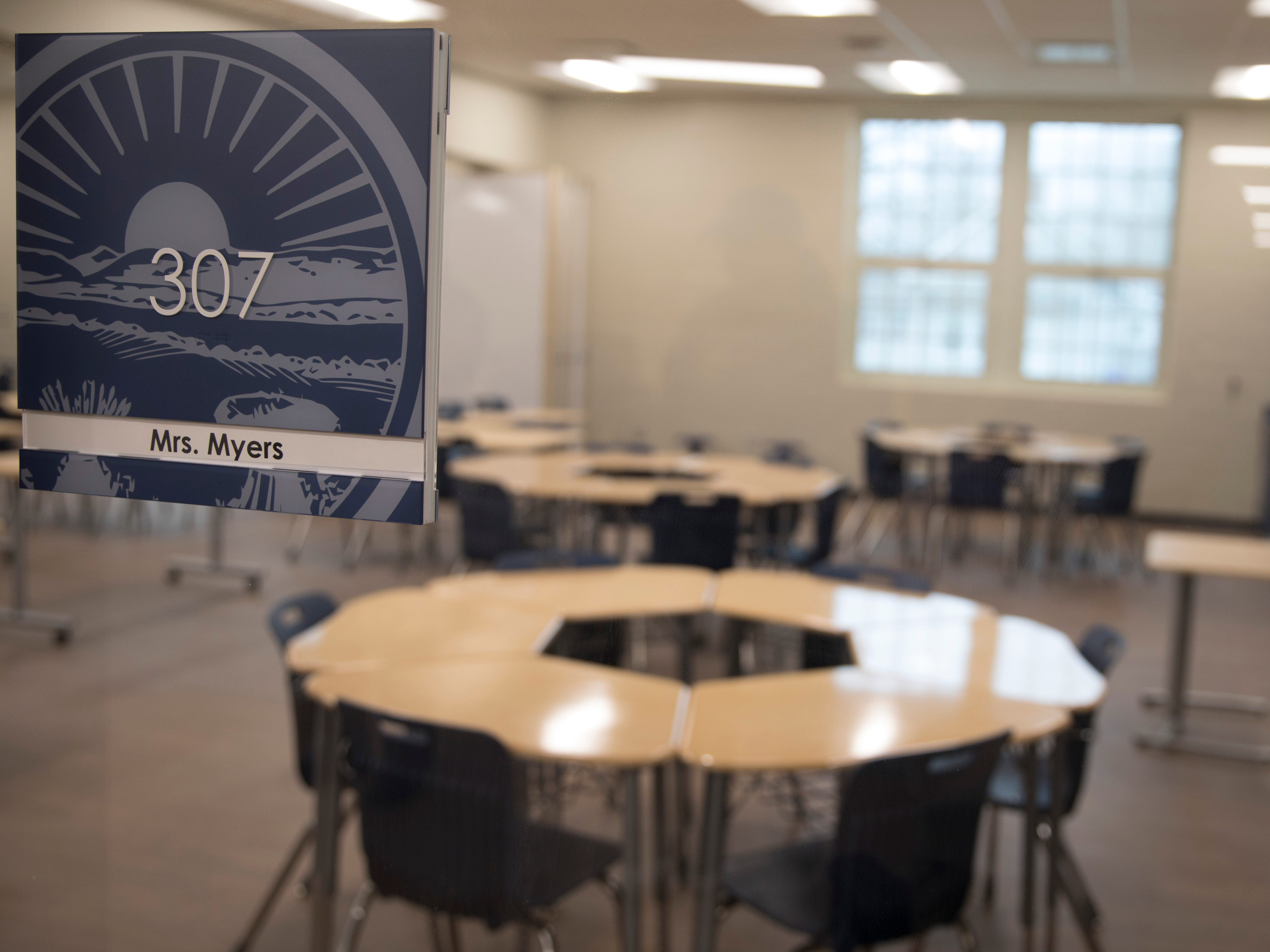 A teacher's name plaque with an Ohio seal is outside every classroom at the new Chillicothe Intermediate  School.