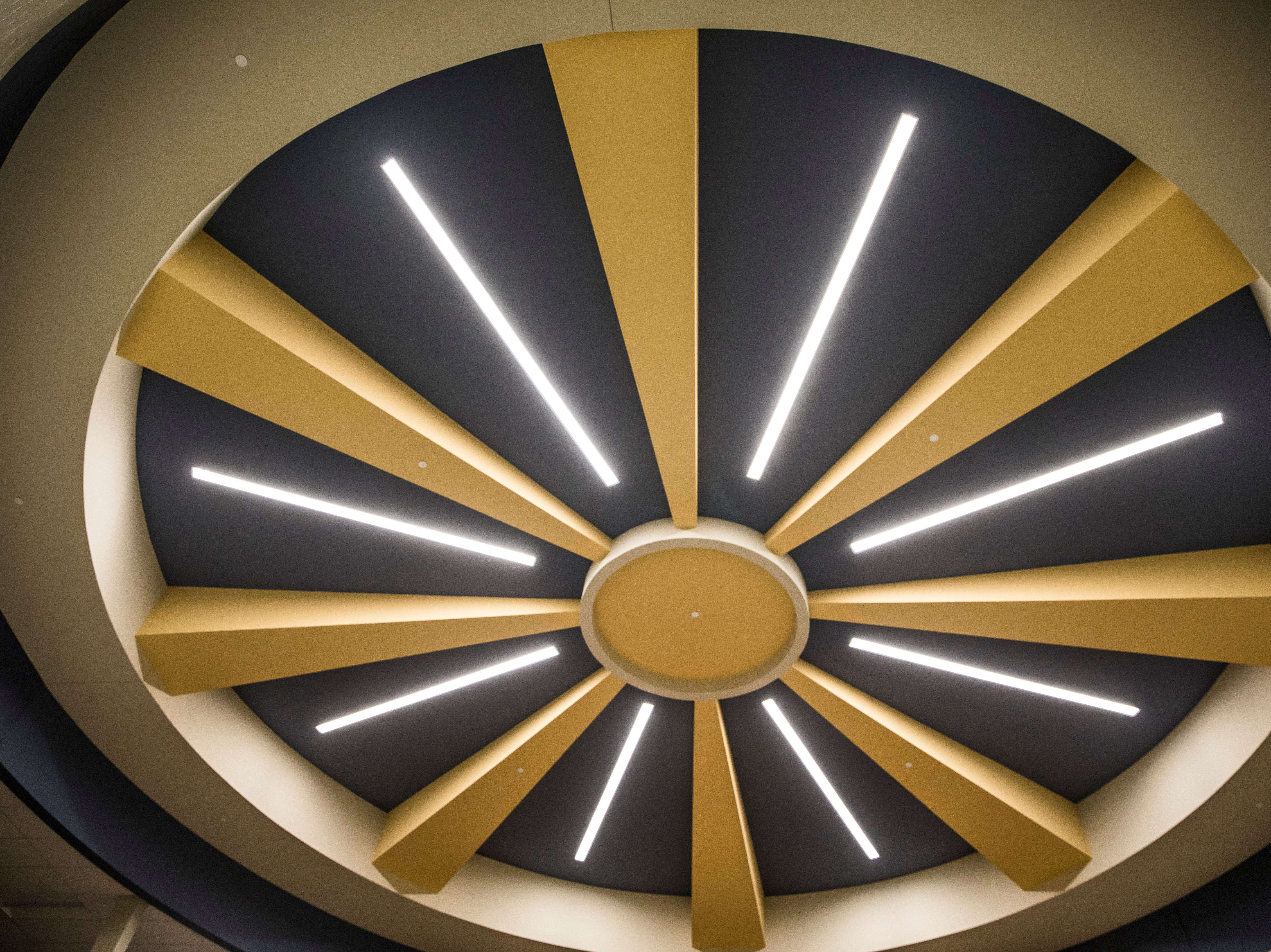 One of the biggest 'Wow!' factor moments in the building comes from looking up at the ceiling of the rotunda and seeing this interpretation of the rays of sunlight from the Great Seal of Ohio.