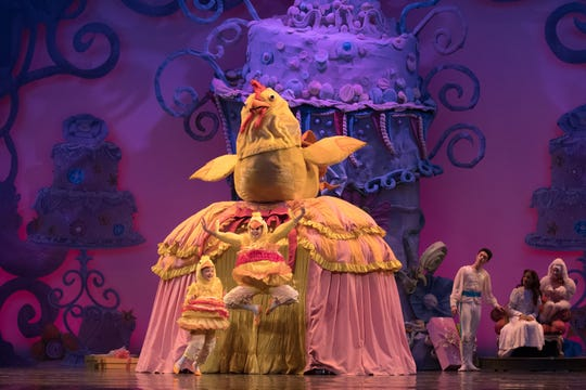 """A monstrous Mother Hen with eight chicks are one of the many vaudeville-like pieces in Cincinnati Ballet artistic director Victoria Morgan's reimagined """"The Nutcracker,"""" running at Music Hall through Dec. 24. This photo is from the 2017 production. Photo: Peter Mueller."""