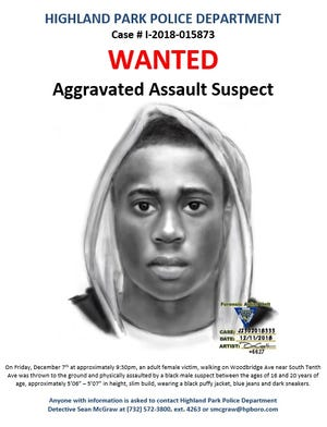 The Highland Park Police Department has released a police sketch of a suspect wanted for a borough aggravated assault.