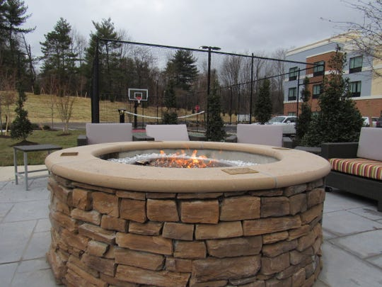 The fire pit is a unique feature of the new TownePlace Suites in Branchburg.