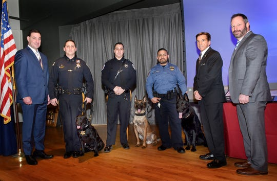 Union County Sheriff Peter Corvelli and Union County Undersheriff Dennis Burke joined Monmouth County Undersheriff Michael Donovan, Jr. in congratulating Union County Sheriff's Officer Nelson Agurto and K-9 Ceasar, Blairstown Police Department Patrolman Richard Herzer and K-9 Caster, and Monmouth County Sheriff's Officer Devon Mockus and K-9 Harley as they graduated the Union County Sheriff's Office K-9 Training Academy as part of Classes 18-01 and 18-02 during a ceremony at the Trailside Nature and Science Center in Mountainside.