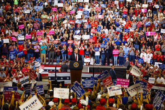 President Donald Trump speaks during a rally at JQH Arena on the campus of Missouri State University on Friday, Sept. 21, 2018, in Springfield, Missouri.