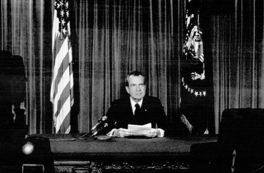 President Richard Nixon announces he will resign the presidency effective at noon on Friday, Aug. 9, 1974 in a broadcast from the Oval Room of the White House Thursday, Aug.8, 1974.