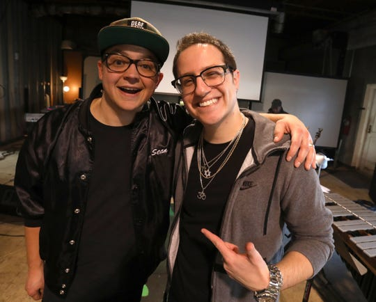 (L to R) Deaf rapper Sean Forbes and composer Jake Bass at rehearsals at the Deaf Professional Arts Network in Ferndale, Michigan on Wednesday December 12, 2018.