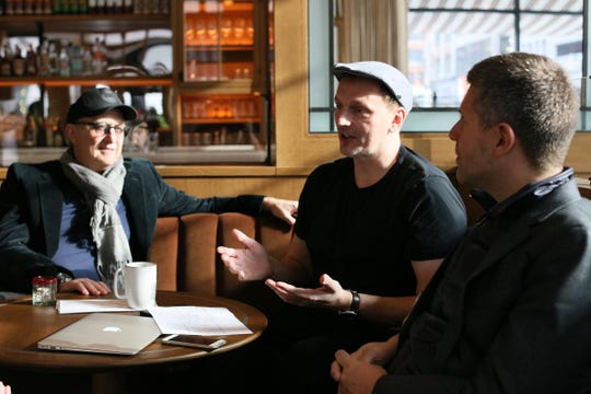 Chef Andrew Camellini, center talks about the concept and food behind San Morello restaurant, which will be the signature eatery in the new Shinola hotel in downtown Detroit, photographed on Thursday, Dec. 13, 2018. Carmellini sits between his partners Josh Pickard and Luke Ostrom of the NoHo Hospitality Group.