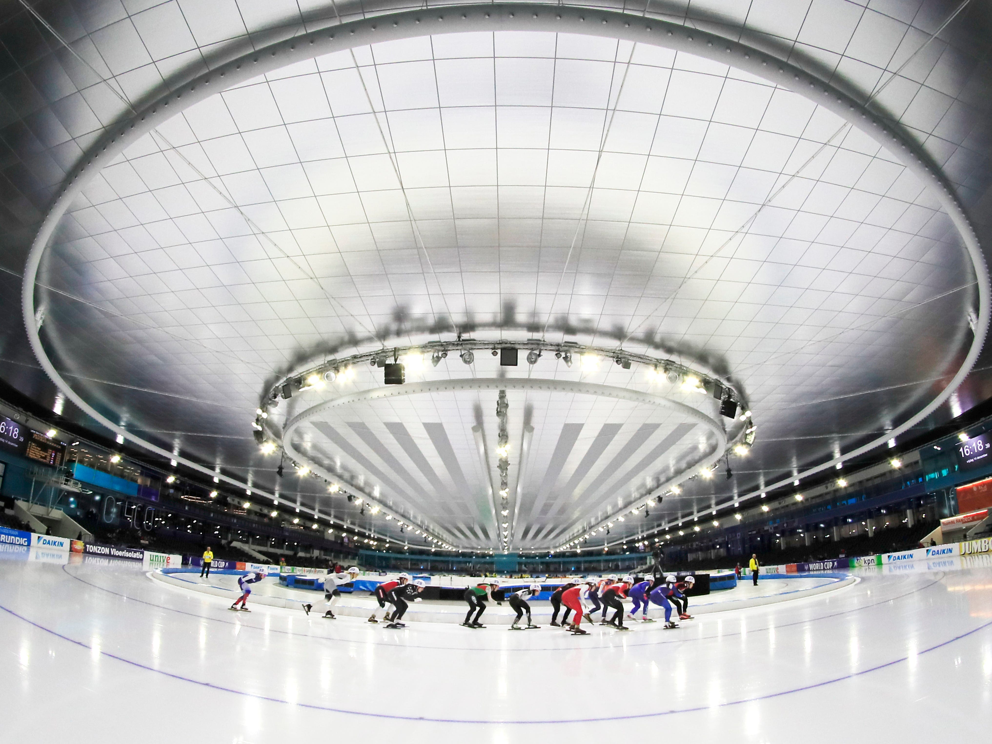 A view of the women's mass start of the World Cup speed skating semi-final at the Thialf ice arena in Heerenveen, Netherlands, Friday, Dec.14, 2018.
