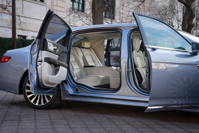 """The most distinguishing feature on the stretch version of the marque's flagship sedan will be distinctive center-opening doors — more commonly referred to as """"suicide doors."""""""