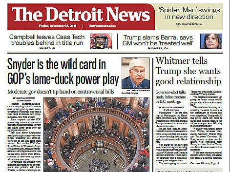 The front page of The Detroit News on Friday, December 14, 2018.