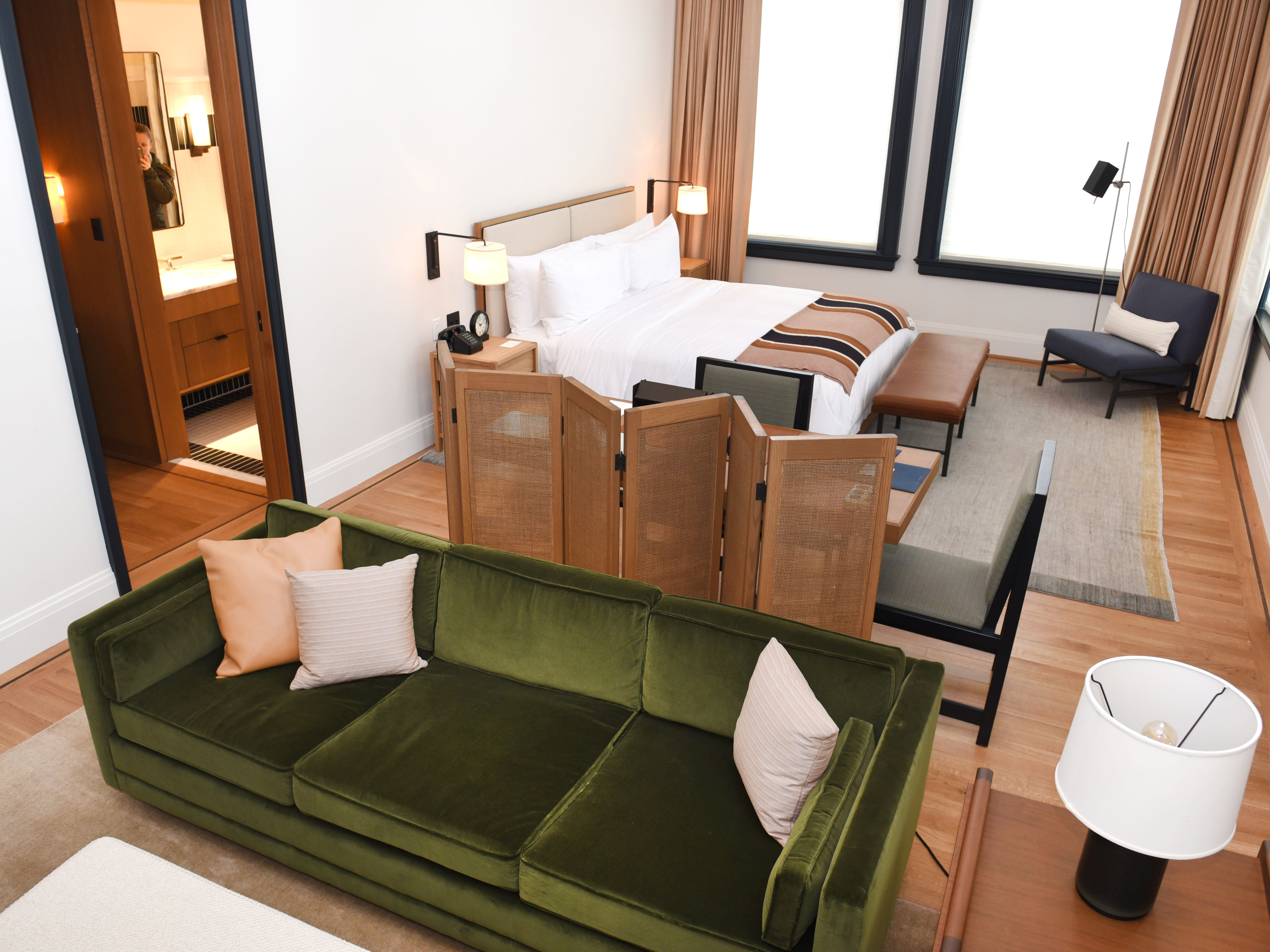 A guest suite at the Shinola Hotel. Rates start at $195 per night.