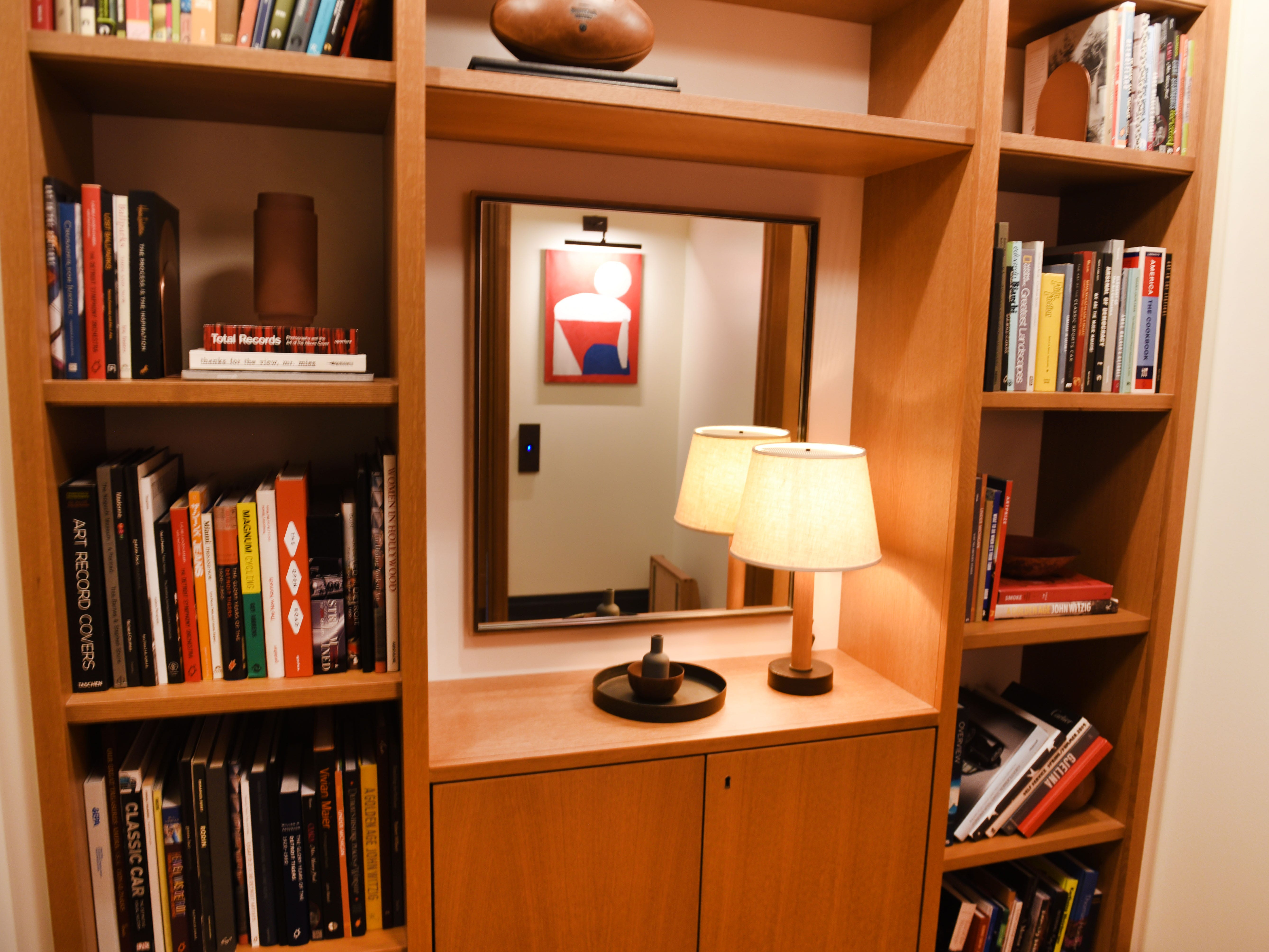 A small library is tucked into an area outside guest rooms of the Shinola Hotel.
