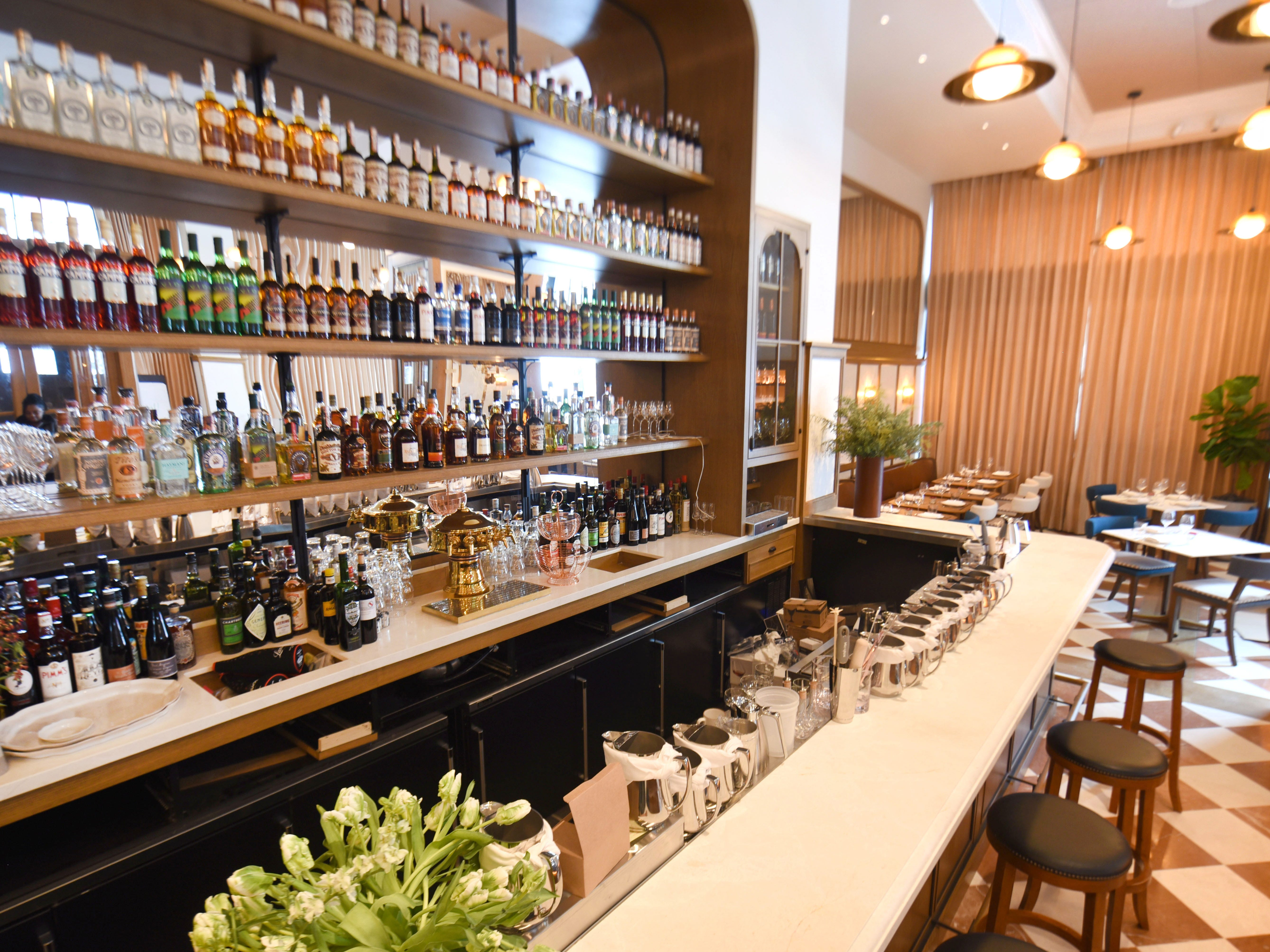 The bar and lounge at the San Morello restaurant inside the Shinola Hotel.