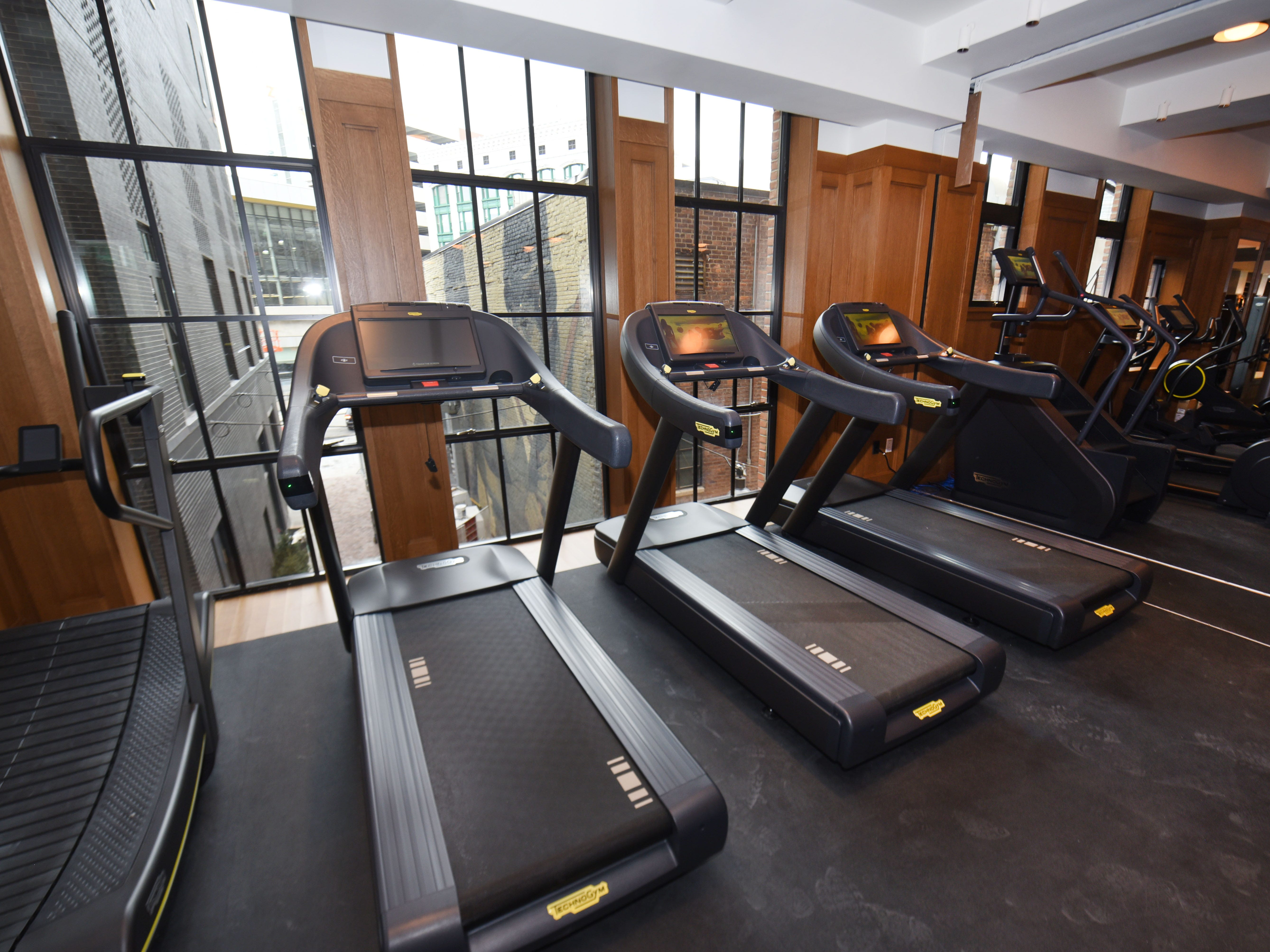 Workouts come with a view on the treadmills and other exercise equipment at the Shinola Hotel.