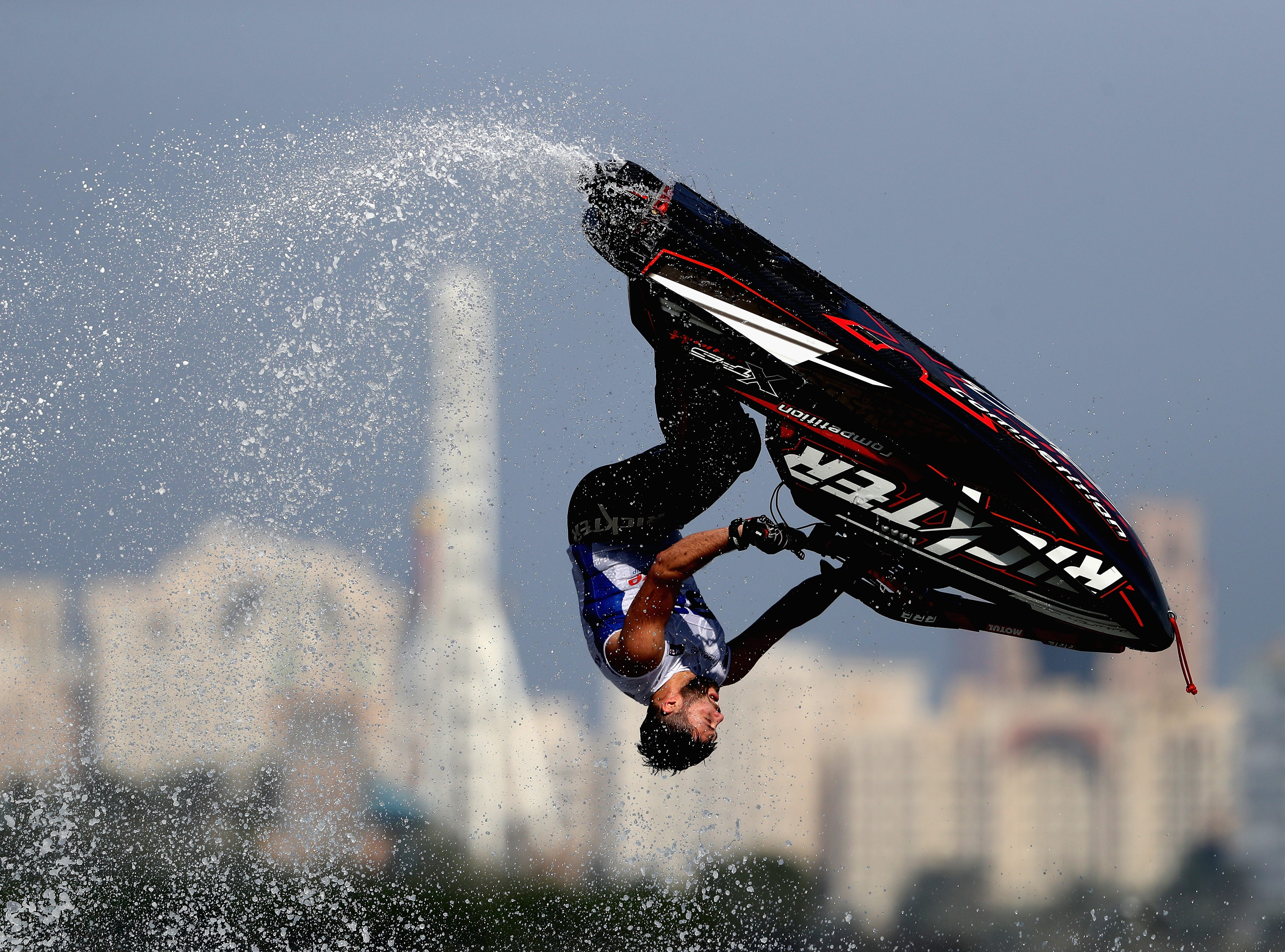 Alexander Kuramshin of Russia practices during the men's freestyle ahead of the UIM-ABP Aquabike Class Pro Circuit - Grand Prix of Sharjah at Khalid Lagoon on Dec. 11.