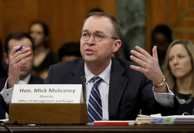Office of Management and Budget Director Mick Mulvaney testifies before the Senate Budget Committee February 13, 2018 in Washington, DC.