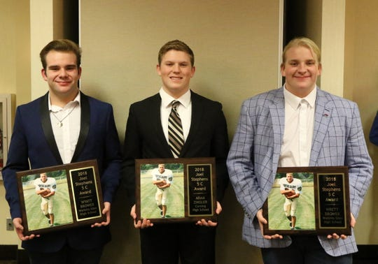 From left, Wyatt Brower of Watkins Glen/Odessa-Montour, Adam Zingler of Corning and Wrett Brower of Watkins Glen/O-M were the winners of the Joel Stephens 5C Award on Dec. 13, 2018 at the Holiday Inn Elmira-Riverview.