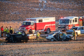 One person was killed and another injured in a two-vehicle crash on Hickory Road near County Highway G near Mount Calvary.