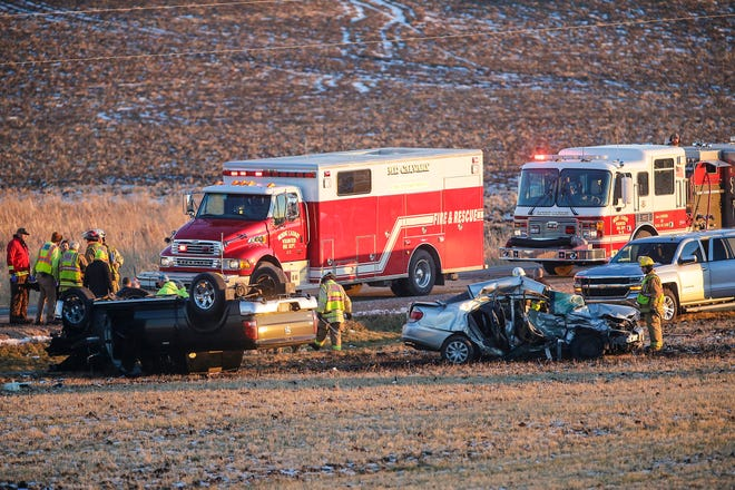 Emergency crews work the scene of a two vehicle crash Friday, December 14, 2018, on Hickory Road just east of County Road G in Fond du Lac County. Doug Raflik/USA TODAY NETWORK-Wisconsin