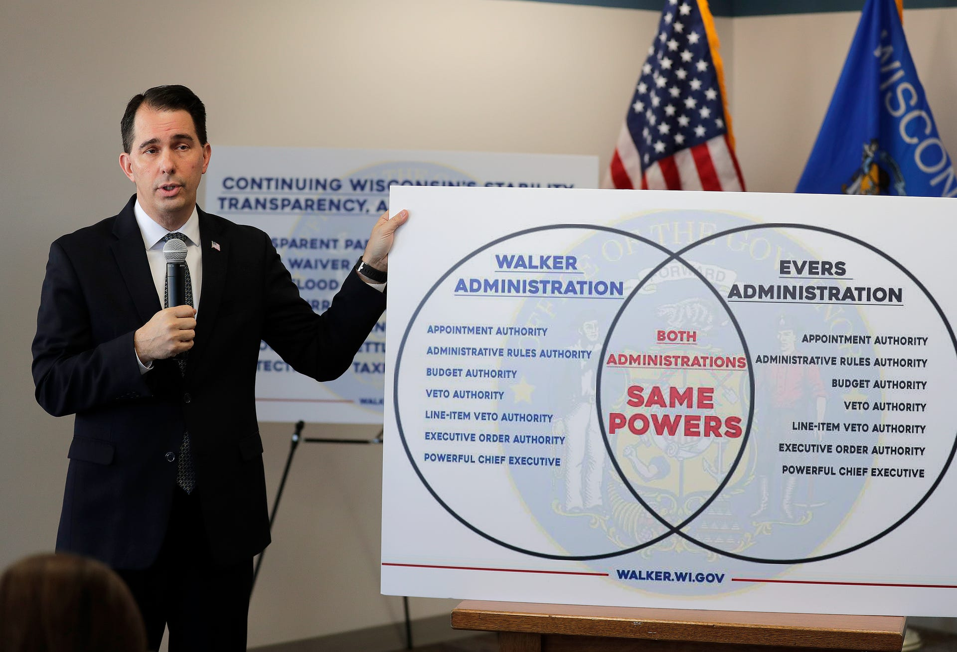 Wisconsin Gov. Scott Walker talks about legislation he signed into law and addressed his transitional agenda as he prepares to leave office during a press conference Friday, December 14, 2018 in Green Bay, Wis.