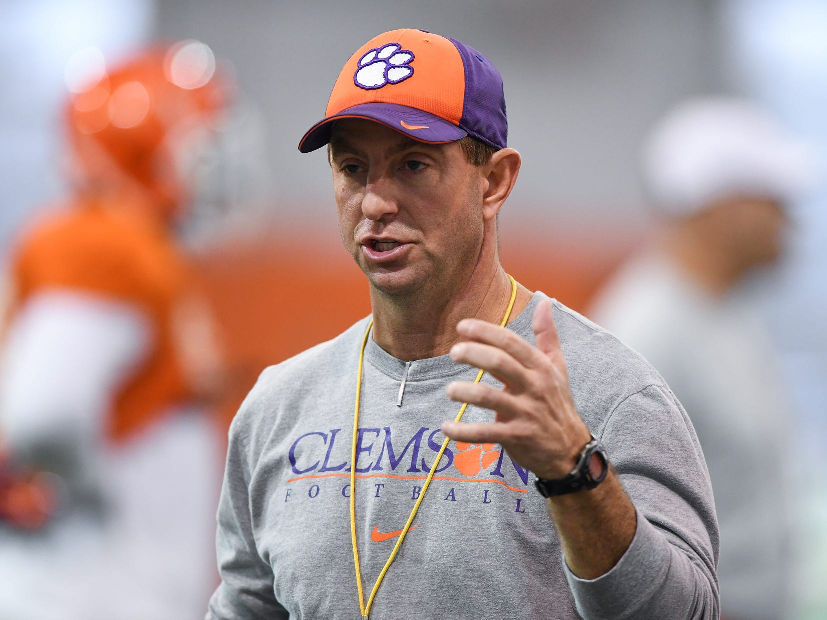 Clemson head coach Dabo Swinney during the Tigers Cotton Bowl practice on Friday, December 14, 2018.