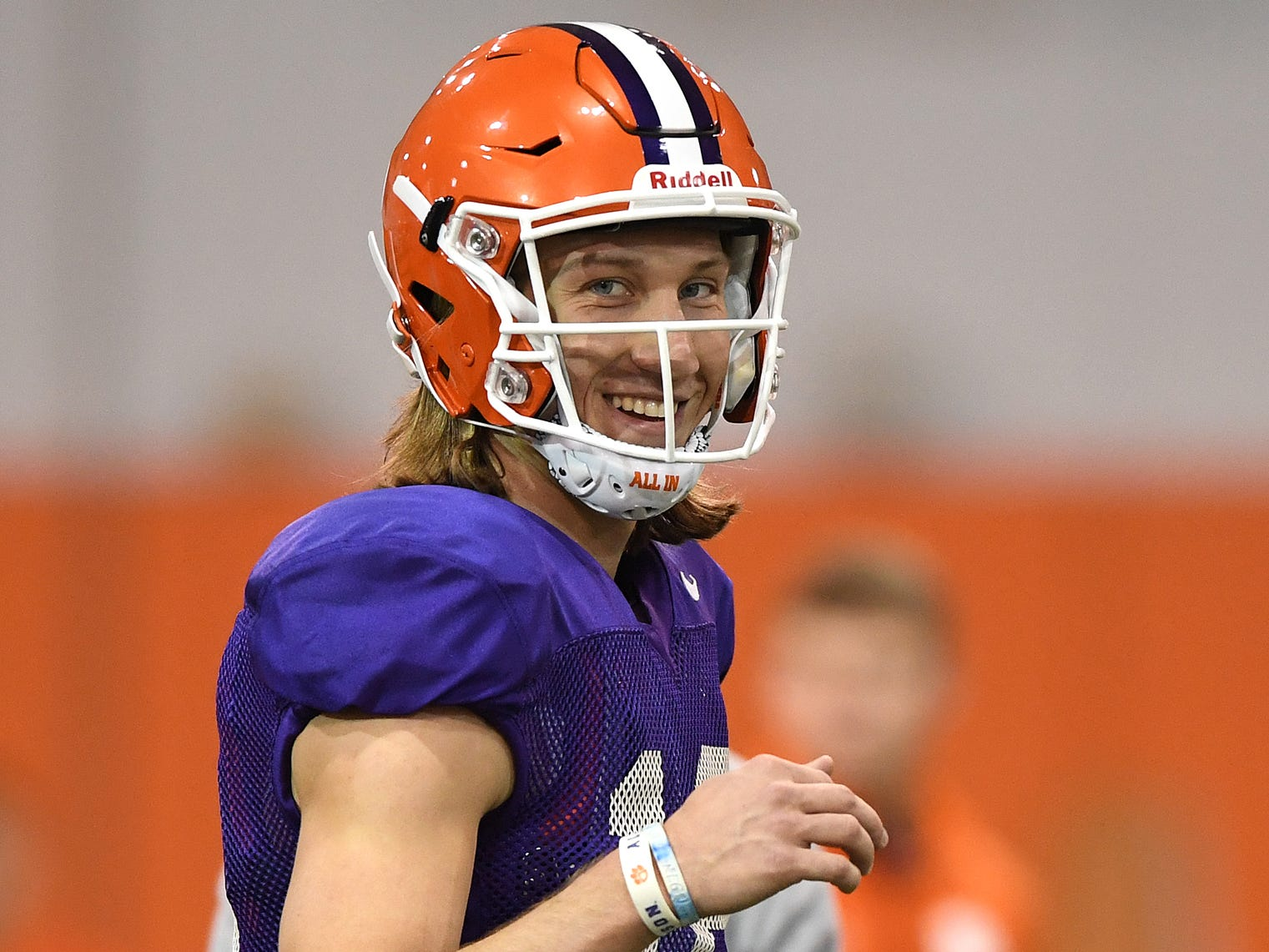 Clemson quarterback Trevor Lawrence (16) smiles during the Tigers Cotton Bowl practice on Friday, December 14, 2018.
