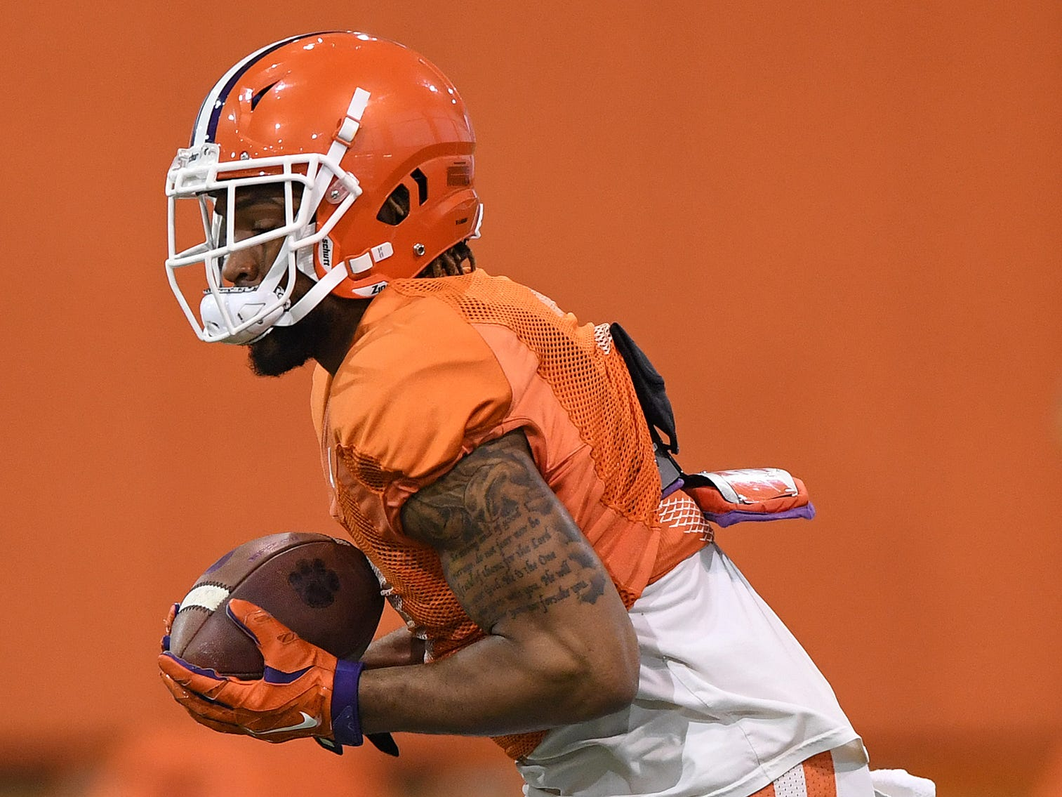 Clemson wide receiver Amari Rodgers (3) returns a kick during the Tigers Cotton Bowl practice on Friday, December 14, 2018.