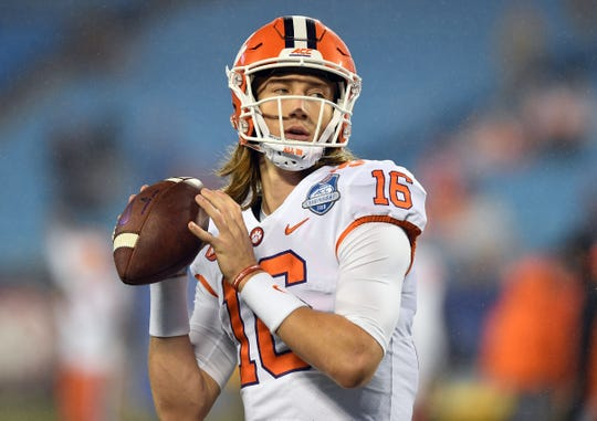 Clemson quarterback Trevor Lawrence (16) during pregame of the Dr. Pepper ACC Championship at Bank of America Stadium in Charlotte, N.C. Saturday, December 1, 2018.