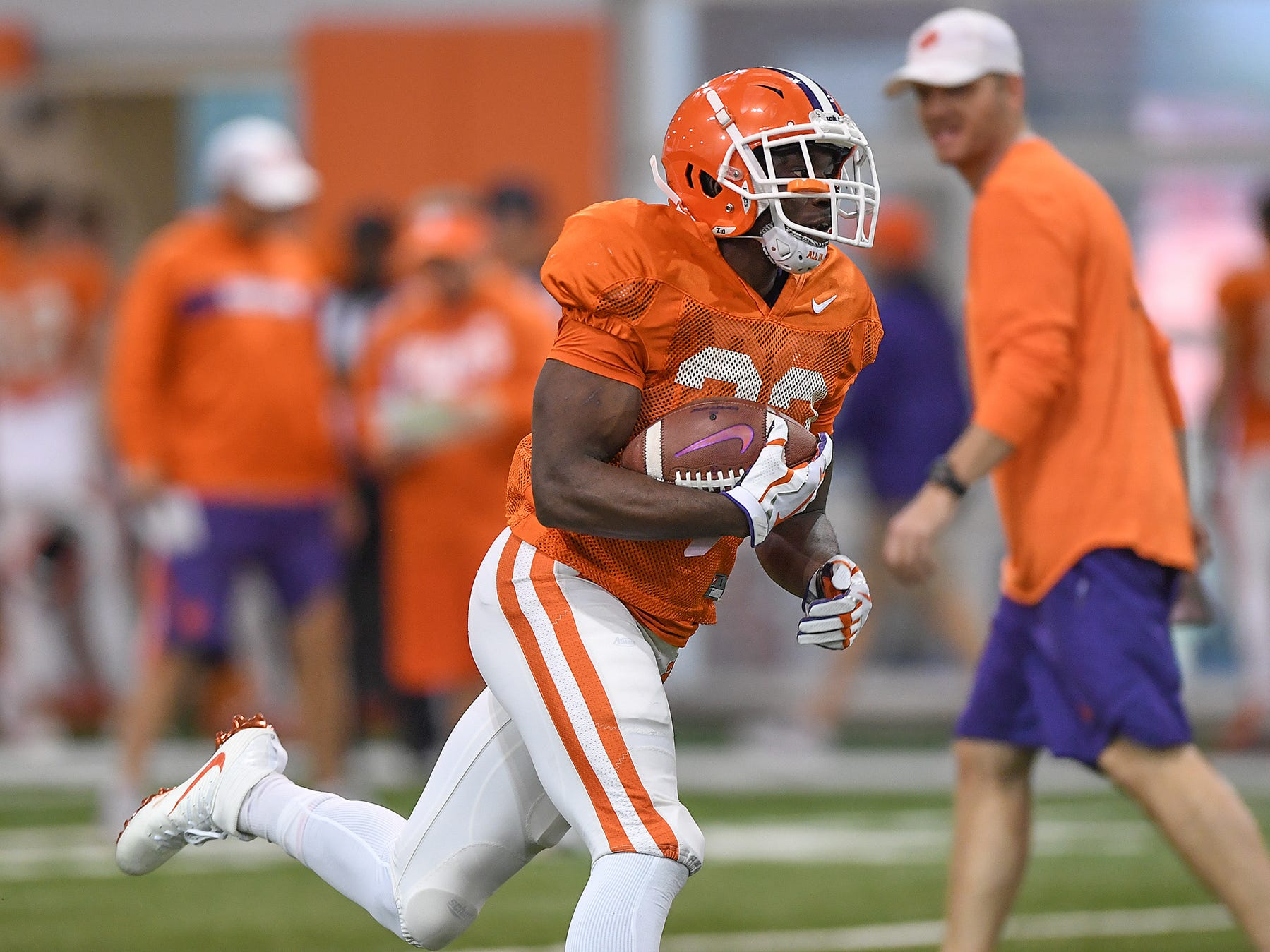 Clemson running back Lyn-J Dixon (23) carries the ball during the Tigers Cotton Bowl practice on Friday, December 14, 2018.