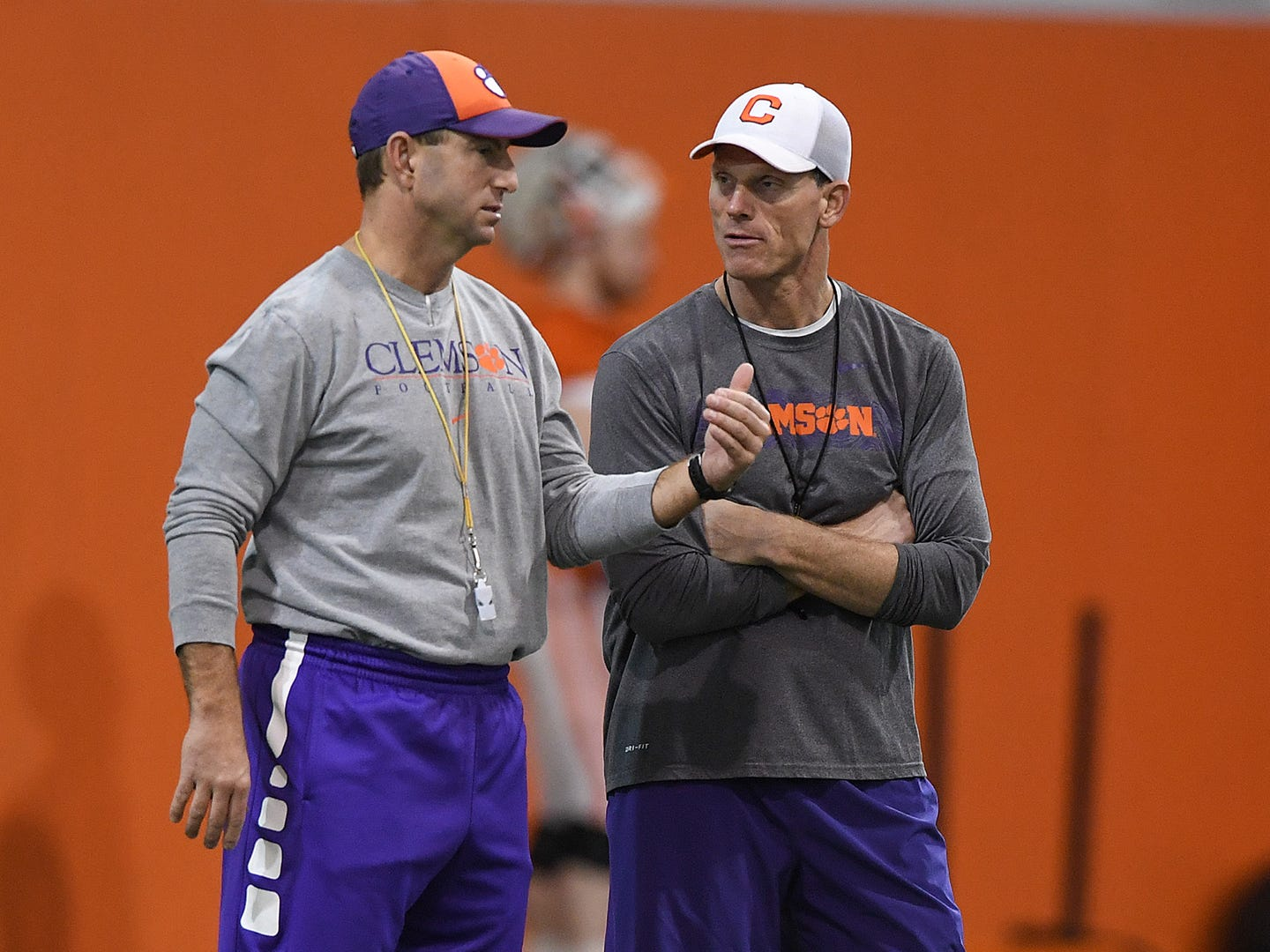 Clemson head coach Dabo Swinney, left, talks with defensive coordinator Brent Venables during the Tigers Cotton Bowl practice on Friday, December 14, 2018.