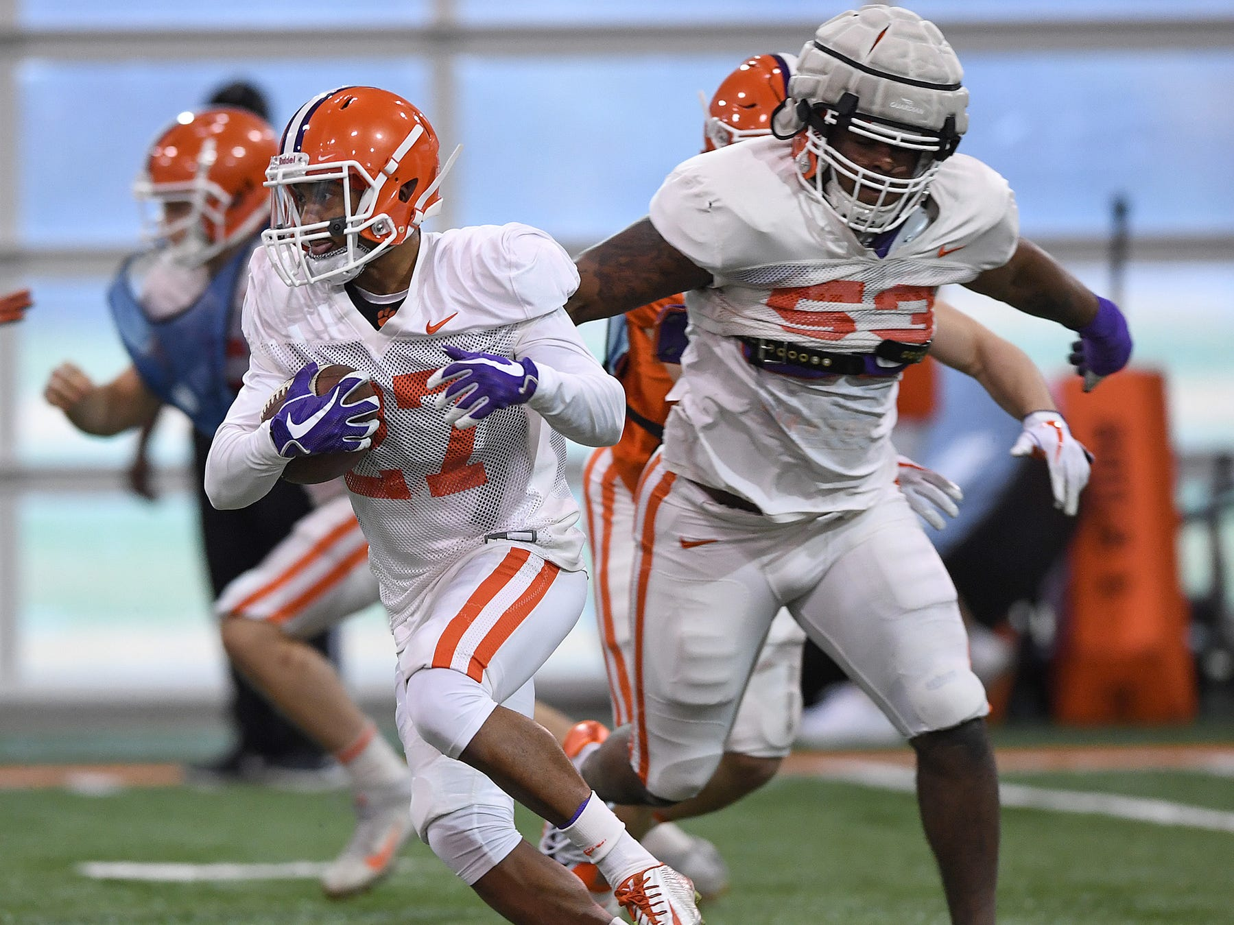 Clemson running back Ty Lucas (27) returns a kick during the Tigers Cotton Bowl practice on Friday, December 14, 2018.