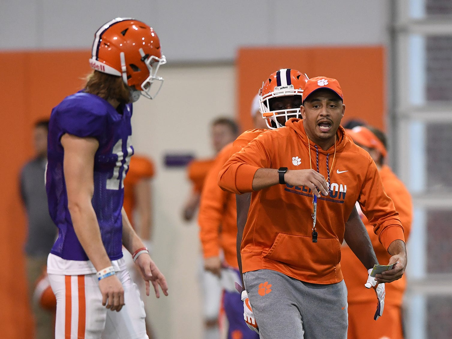 Clemson co-offensive coordinator Tony Elliott during the Tigers Cotton Bowl practice on Friday, December 14, 2018.