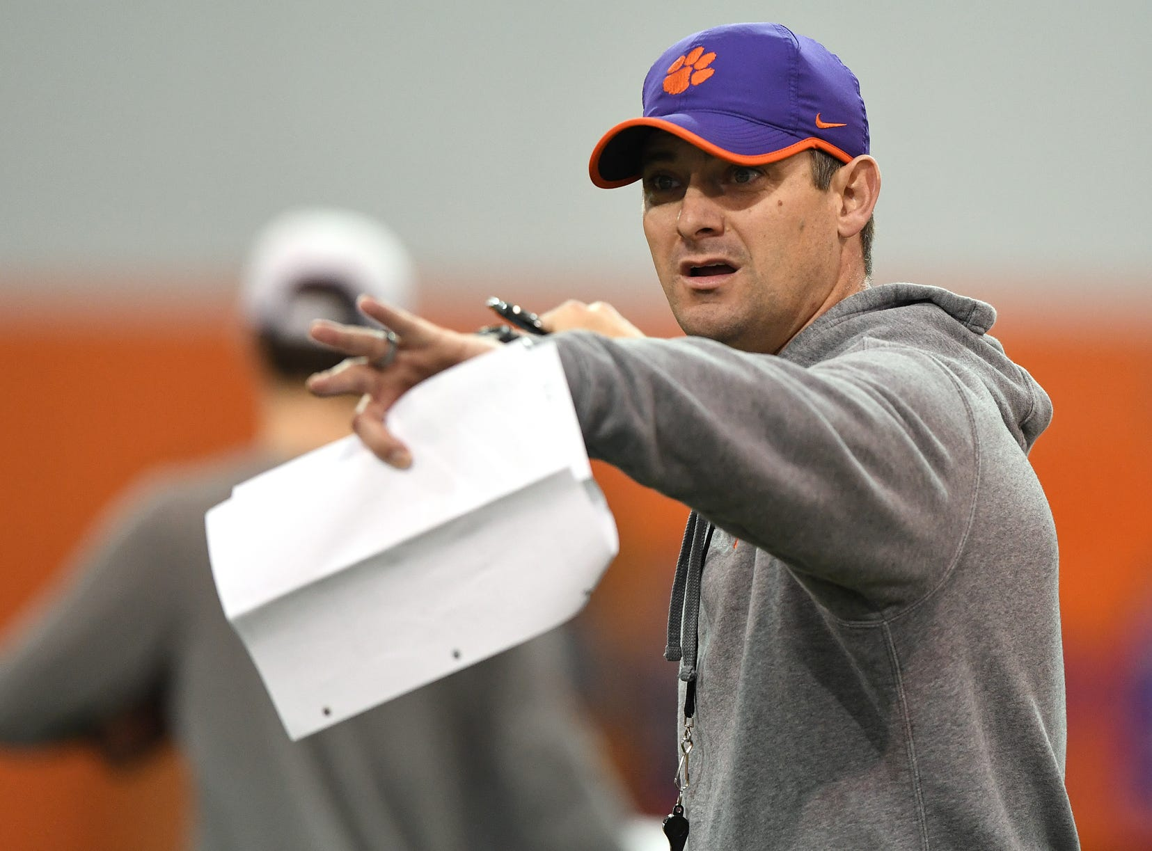 Clemson co-offensive coordinator Jeff Scott during the Tigers Cotton Bowl practice on Friday, December 14, 2018.
