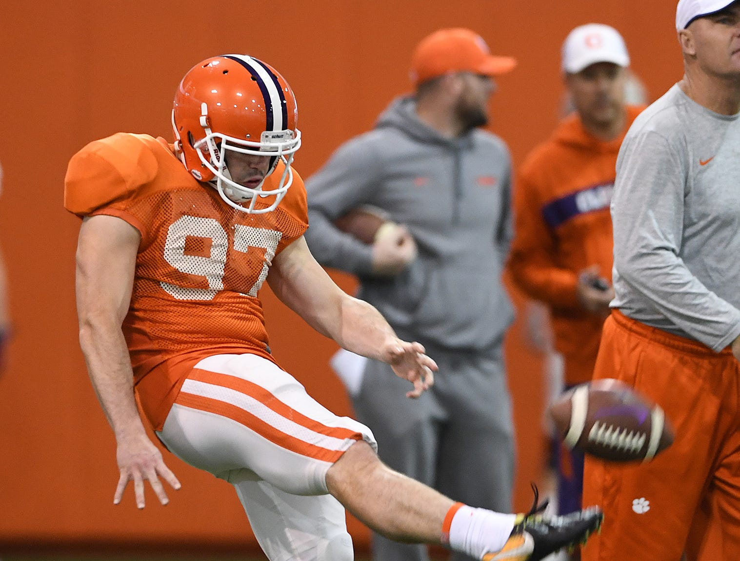 Clemson punter Carson King (97) punts during the Tigers Cotton Bowl practice on Friday, December 14, 2018.
