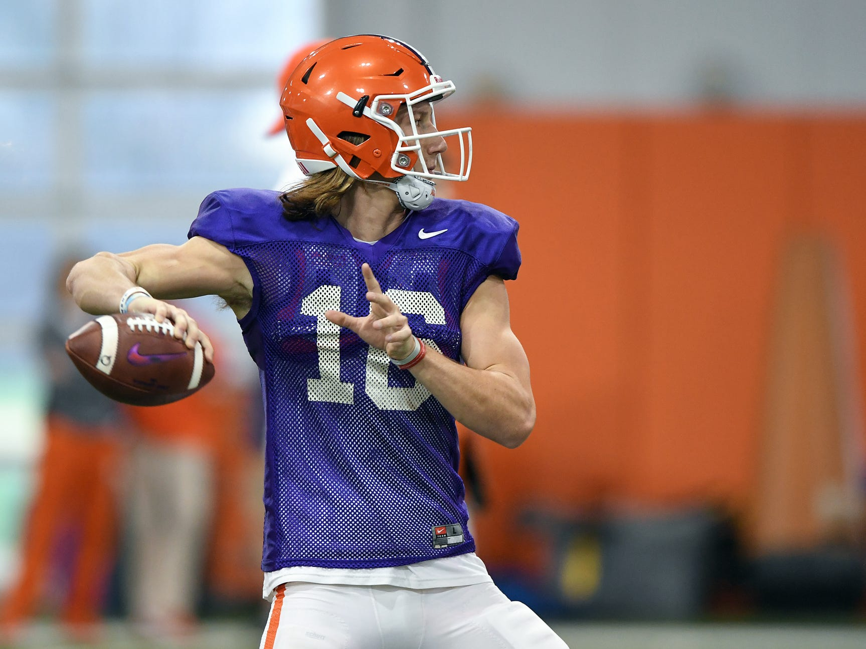 Clemson quarterback Trevor Lawrence (16) during the Tigers Cotton Bowl practice on Friday, December 14, 2018.