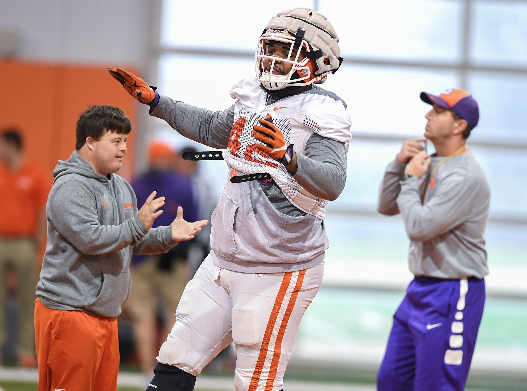 Clemson defensive lineman Christian Wilkins (42) during the Tigers Cotton Bowl practice on Friday, December 14, 2018.