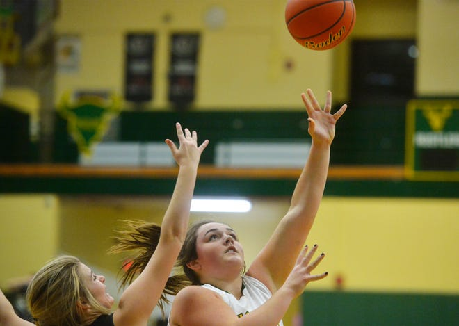 CMR's Marley Calliham shoots layup during Thursday evening's baskeball game against Missoula Big Sky in the CMR Fieldhouse.