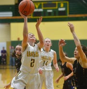 CMR's Lauren Lindseth shoots a layup during Thursday evening's baskeball game against Missoula Big Sky in the CMR Fieldhouse.