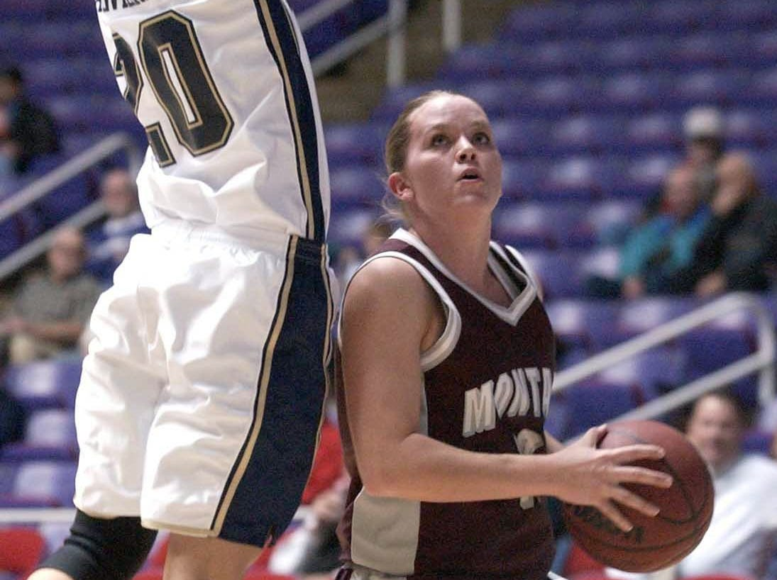 Former Malta star Cheryl Keller of the Montana Lady Griz looks to score against Montana State in the 2002 Big Sky Conference tournament.