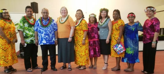 The Marshall Islands' former First Lady, Lieom Anono Loeak and the Jined Club invited the Federation of Asia-Pacific Women's Association's advisor Kristal Koga to attend the Jined Club's installation of new ffficers in Majuro, Marshall Islands, Nov. 2018. FAWA advisor Kristal was the honored guest. Pictured from left: Leroij Lina Amsa Jined club liaison officer; Current senator and former president of the Marshall Islands, Casten Nemra; Current senator and former president of the Marshall Islands, Christopher J. Loeak; Karen B. Stewart U.S. ambassador to the RMI; Neijon Edwards ambassador, RMI Embassy in Taiwan; Lieom A Loeak Jined club founder and advisor, former First Lady of the RMI; Leroij Amon Luther Jined club president; Rosita Capelle Jined club past president and advisor; Rosalie DeBrum Jined club member.