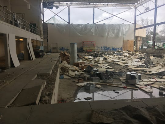 Work has started on the former Westfield Middle School swimming pool,  seen Dec. 4, 2018, which will become an orchestra room. The district is adding about 40,000 square feet  to the building.