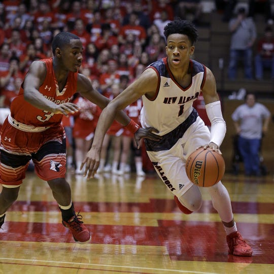 FILE – Romeo Langford and New Albany defeated Joey Brunk's Southport team in the 2016 Class 4A semistate.