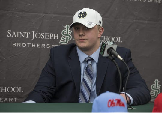 John Olmstead commits to Notre Dame for his college football career. The announcement was made with friends, family, and teammates at St. Joseph High School, Metuchen, NJ.